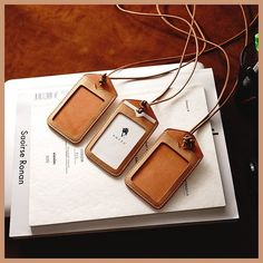 Our recent best selling product, ID Card Holder Natural - we just upgraded the leather neck-strap to be a bit longer than the… Diy Leather Card Holder, Leather Business Card Holder, Leather Luggage Tags, Leather Wallet, Leather Bags Handmade, Leather Craft, Leather Projects, Leather Accessories, Leather Tooling