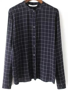 Navy Stand Collar Plaid Slim Blouse -SheIn(abaday)
