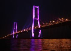 Jembatan Suramadu (Suramadu Bridge) in Surabaya, Jawa Timur. Indonesia's Department of Public Works wanted to illuminate the bridge in honor of its economic role in linking Madura and East Java.  The lighting designer, inspired by the chromatic tail of the peacock, used color-changing Philips Color Kinetics fixtures to create a vivid scene between the two cities.