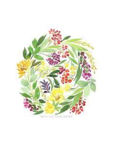 Floral Cluster in Multi Watercolor Art Print by YaoChengDesign, $25.00