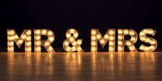Mr and Mrs light up letters by Goodwin & Goodwin www.GoodwinandGoodwin.com