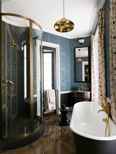 French interior designer Jean-Louis Deniot has given an elegant Parisian apartment a bold contemporary spin, mixing centuries-old antiques with African fabrics and irreverent art Parisian Bathroom, Modern Bathroom, Small Bathroom, Master Bathroom, Bathroom Showers, Parisian Decor, Rental Bathroom, Bathroom Canvas, Remodel Bathroom