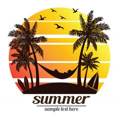 Summer vacation on tropical beach sunset with palm trees ,vector illustration stock vector - 47914115 Background Design Vector, Illustration, Summer Logo, Drawings, Grapic Design, Mural Wall Art, Art, Background Patterns, Beach Art
