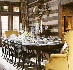 dining room in cabin home designed by Suzanne Kasler, featured in Architectural Digest's June 2009 issue.