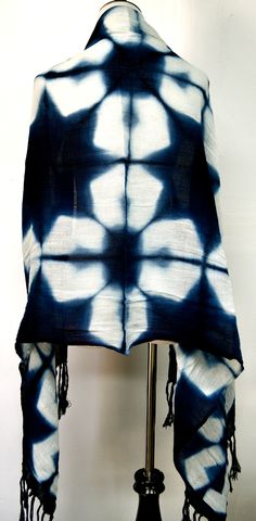 Indigo Shibori Shawl (back) 100% cotton