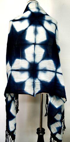 Indigo Shibori Shawl (back) 100% cotton