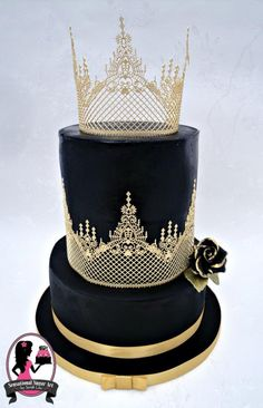 Black and Gold Wedding Cake by Sensational Sugar Art by Sarah Lou - http://cakesdecor.com/cakes/212046-black-and-gold-wedding-cake