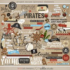 Project Mouse (Pirates): Elements  	[ a collaboration ]  by britt-ish designs and sahlin studio    	Pocket page scrapbooking is all the rage right now, and for good reason: it is one of the eas...