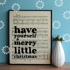 Merry Little Christmas Decor typographic Art Print on Framed Sheet Music