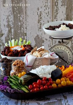 I just LOVE that fresh eggplant dip bowl! Plus the whole vegetable tray setup