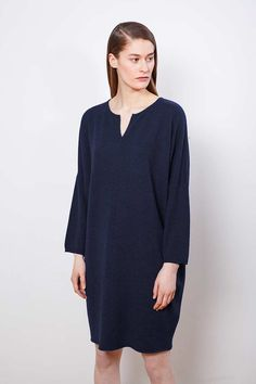 """Arela AW14 collection """"Clement Days"""". Dora cashmere dress in Windermere blue."""