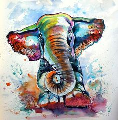 Buy Majestic elephant playing - perfect gift idea, Watercolour by Kovács Anna Brigitta on Artfinder. Discover thousands of other original paintings, prints, sculptures and photography from independent artists.
