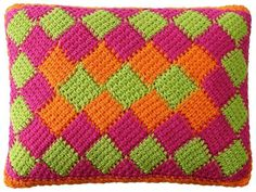 Get your color on! Inspired by the trendy knitting technique, entrelac crochet is a stunning, intricate pattern of repeating squares or diamonds in as many bright colors as you like. Learn the technique with our thorough tutorial.