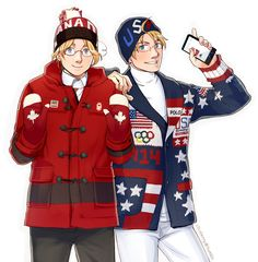 Matthew and Alfred in the Canadian and American athletes' uniforms from the Opening Ceremonies of the 2014 Sochi Winter Olympic Games - Art by ctcsherry.tumblr.com