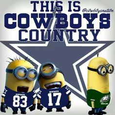 I love the minions and I love the Dallas Cowboys. This is perfect. Dallas Cowboys Football, Dallas Cowboys Pictures, Cowboys 4, Football Memes, Football Team, Football Season, Cowboys Memes, Football Baby, School Football