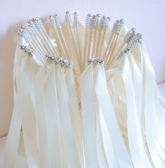 Chic Wedding Ribbon Wands-send off/ set of 100 double ribbon wands with rhinestones and bells Wedding Send Off, Wedding 2017, Wedding Wishes, Chic Wedding, Wedding Favors, Wedding Ceremony, Our Wedding, Dream Wedding, Wedding Decorations