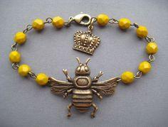 Bee Bracelet - Bee Jewelry - Mustard Yellow Jewelry - Queen Bee - Glass Bead Bracelet - Nature Jewelry - Bumblebee Jewelry - Honeybee by SilverTrumpetJewelry on Etsy