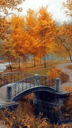 Bridge, bro, romantic, Autumn, burning colours, trees, awesome, gorgeous, architechture, photo. #autumn