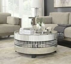 Crystal Modern Mirrored Glass Circular Coffee Table With Black Legs. Mirrored Glass Circular Crystal Coffee Table With Black Legs Mirrored Furniture, New Furniture, Luxury Furniture, Furniture Design, Office Furniture, Furniture Outlet, Circular Coffee Table, Round Coffee Table, Modern Coffee Tables