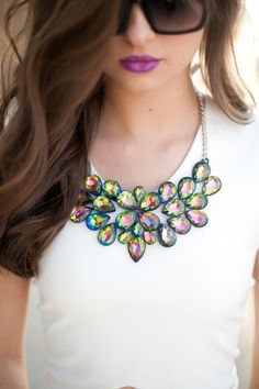 Statement Necklace...I am always drawn to this hologram jewelry! Never seen it in a statement necklace before...would go with my earrings and bracelet :)