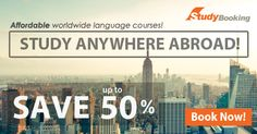 Studybooking.com offers you the ultimate learning experience by studying abroad. We have a variety of credited language schools and accommodations to choose that comes with lesser prices. Find your suitable language courses and accommodation now!  Book with our Special Deals up to 35 ~ 50%! like emoticon http://www.studybooking.com/