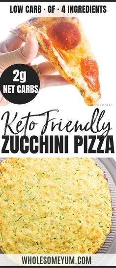 The Best Zucchini Pizza Crust Recipe - Low Carb 4 Ingredients - The BEST zucchini pizza crust recipe - low carb super easy 4 ingredients NO squeezing required and you can PICK IT UP! Plus lots of tips and instructions for freezing zucchini crust pizza. No Carb Recipes, Healthy Low Carb Recipes, Low Carb Dinner Recipes, Easy Appetizer Recipes, Diet Recipes, Breakfast Recipes, Cooking Recipes, Dessert Recipes, Breakfast Biscuits