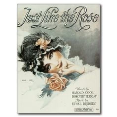 Just Like The Rose Vintage Song Sheet Music Art Post Card #song #music #postcards