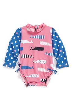 Free shipping and returns on Hatley Long Sleeve Rashguard Swimsuit (Baby Girls) at Nordstrom.com. A bright, whale-patterned rashguard with contrast polka dot sleeves lets your little one enjoy the beach or pool while providing convenient, built-in SPF 50+ protection.