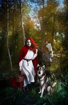 Red Riding Hood.  What would my lomg black velvet cloak look lik if I tried waring it insid out, w/ rd satin on outside?