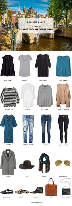 What to pack for Amsterdam Netherlands Packing Light List Fall capsule wardrobe Travel Capsule, Travel Wear, New Travel, Travel Style, Travel Packing, Packing Tips, Fall Packing List, City Break Packing, Travel Europe