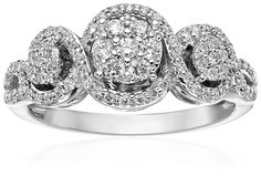 10k White Gold Diamond Engagement Ring (1/2cttw, H-I Color, I2 Clarity), Size 7