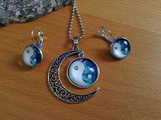 Yin/Yang Alloy Necklace & Earring Set