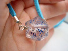 dice jewelry elf dice pendant elvish d20 dice rgp larp see through blueinscriptions elvish runes transparent tolkien fantasy