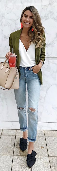 #summer #outfits Strawberry Lemonade Every Time I Go Shopping  Everything But My Bag Is Under $100. // Green Cardigan + White Wrap Top + Ripped Jeans