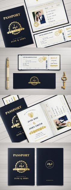 Some awesome DIY Wedding Invitation Cards. Easy and affordable, these handmade wedding invitations will make your guests excited for the ceremony. Passport Wedding Invitations, Invitation Kits, Handmade Wedding Invitations, Simple Wedding Invitations, Wedding Invitation Wording, Event Invitations, Invitations Online, Debut Invitation, Invitation Paper