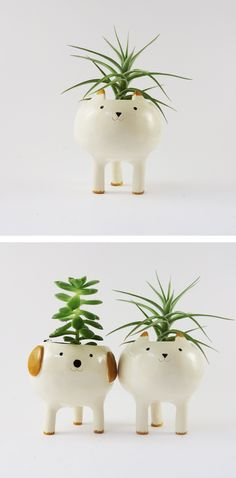 Cat Planter, Ceramic Plant Pot, White Pottery Plant Pot, White Planter. Dog Planter. Minky Moo Ceramics on Etsy. Christmas gifts. Stocking stuffer. Holiday favourites. For the Home.