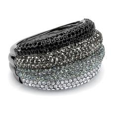 Black Ruthenium Finish Black, Grey, White and Smoky-Colored Ombre Crystal Bangle Bracelet