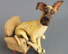 Droopy Hound Dog Sculpture Puddlehound by RudkinStudio on Etsy
