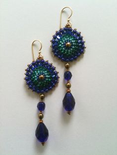 Cobalt blue, teal & bronze gold earrings by Jeka Lambert. Seed bead woven. Glass beads, vintage Venetian seed beads, seed beads.