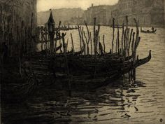 "Fabio Mauroner,(1884-1948) ""Gondolas, Venice"""