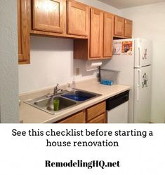 A small kitchen that needs a remodel. See these Remodeling checklist ideas to help you get started Pantry Door Organizer, Pantry Organization, Organizing, Cabinet Organizers, Wood Stove Cooking, Small Fridges, Contemporary Kitchen Design, Kitchen Colors, Kitchen Ideas
