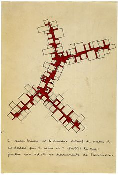 Candilis-Josic-Woods, Concept of 'trunk' in project for Caen-Herouville (France), 1961