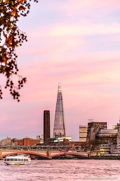 Sunset over The Shard, one of London's most iconic contemporary skyscrapers. London Blog, London Life, London Pictures, London Photos, Tate London, Tate Modern London, Oh The Places You'll Go, Cool Places To Visit, The Shard London