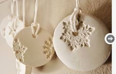 porcelain ornaments - could make something like this with paper clay. must buy paper clay and experiment. Salt Dough Ornaments, Clay Ornaments, Snowflake Ornaments, Snowflakes, Snowflake Decorations, Homemade Ornaments, Homemade Christmas, Ornaments Ideas, White Ornaments
