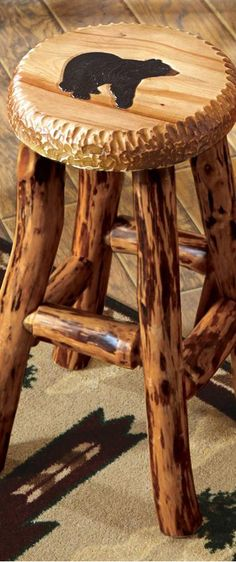 Great stool for a log home or cabin.  I used to know someone who made stools out of mesquite wood.
