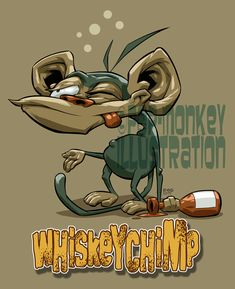 T-shirt design. Chimps love whiskey! Pen & ink with Photoshop.