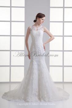 Satin and Net Jewel Neckline Sheath Sweep Train Embroidered Wedding Dress
