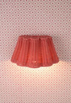 The Rattan Scallop Downlight in Rhubarb Rattan pictured on Seraphic Star Wallpaper - Cerise. Both by Soane Britain. House Lighting, Lighting Design, Wall Light Shades, Picture Lights, Star Wallpaper, Wall Lights, Ceiling Lights, Diffused Light, House Decorations