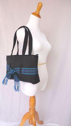 Fair Trade Shoulder Bag, Rich Black  Handwoven Handbag, Choose Color-- Turquoise or Red Maya Belt on Etsy, $28.00