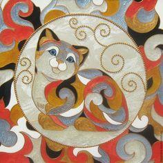 Животные ручной работы. Ярмарка Мастеров - ручная работа. Купить Котёнок в стиле De rosa rinconada Витражная роспись по стеклу. Handmade.